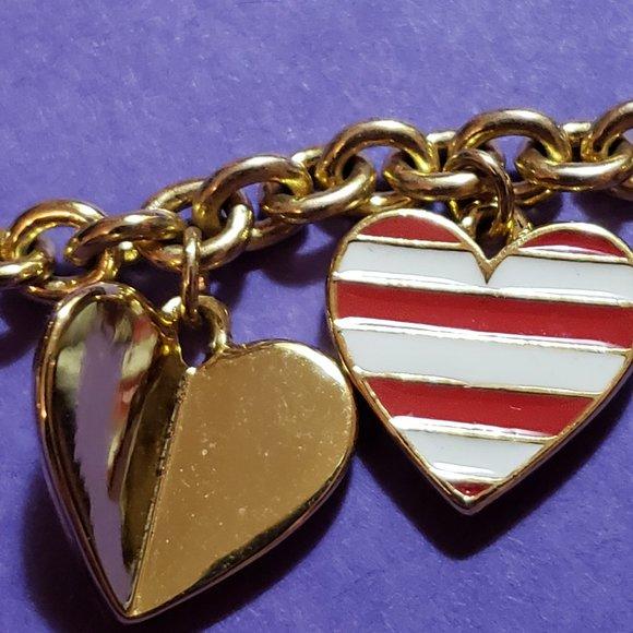 Enameled Valentine-themed charm bracelet